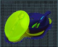 Kidsme dyb tallerken m/sugekop & ske - Lime