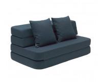 By KlipKlap KK 3 Fold Sofa XL - Mørk Blå m Sorte Knapper