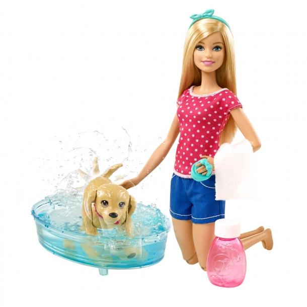 Barbie – Barbie dukke m. hundehvalp og bad, 2 stk. på lager på pixizoo