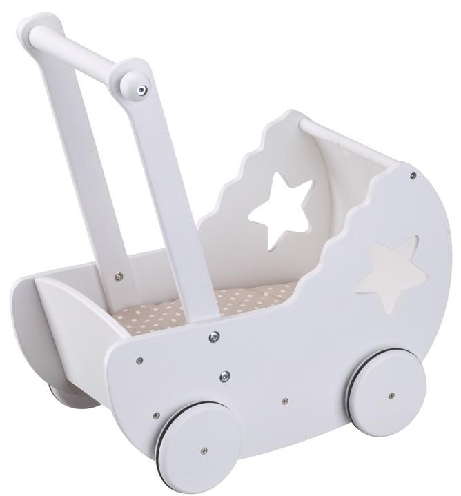 Kids concept – Kids concept dukkevogn med sengelinned - hvid/beige, 4 stk. på lager på pixizoo
