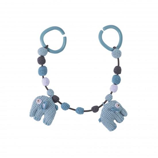 Sebra Sebra hæklet barnevognskæde, elefant - himmelblå, 2 stk. på lager fra pixizoo