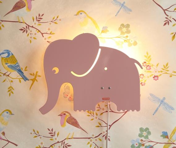 Roommate Elefant Lampa - Rosa