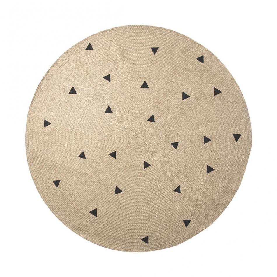 Ferm living Ferm living, juce carpet, , large, black triangles, 1 stk. på lager på pixizoo