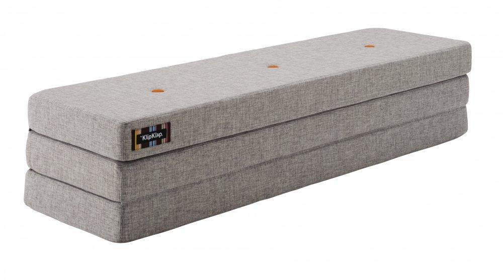 ByKlipKlap Multifunktionell 3 Fold Madrass - Grå med Orange Knapp