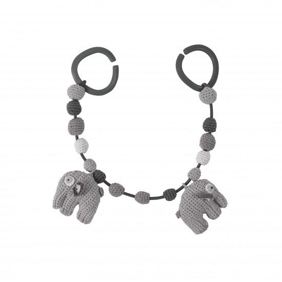 Sebra hæklet barnevognskæde, elefant - grå fra Sebra på pixizoo