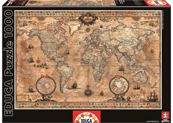 Educa – Educa - antique world map (1000 pcs), 1 stk. på lager fra pixizoo
