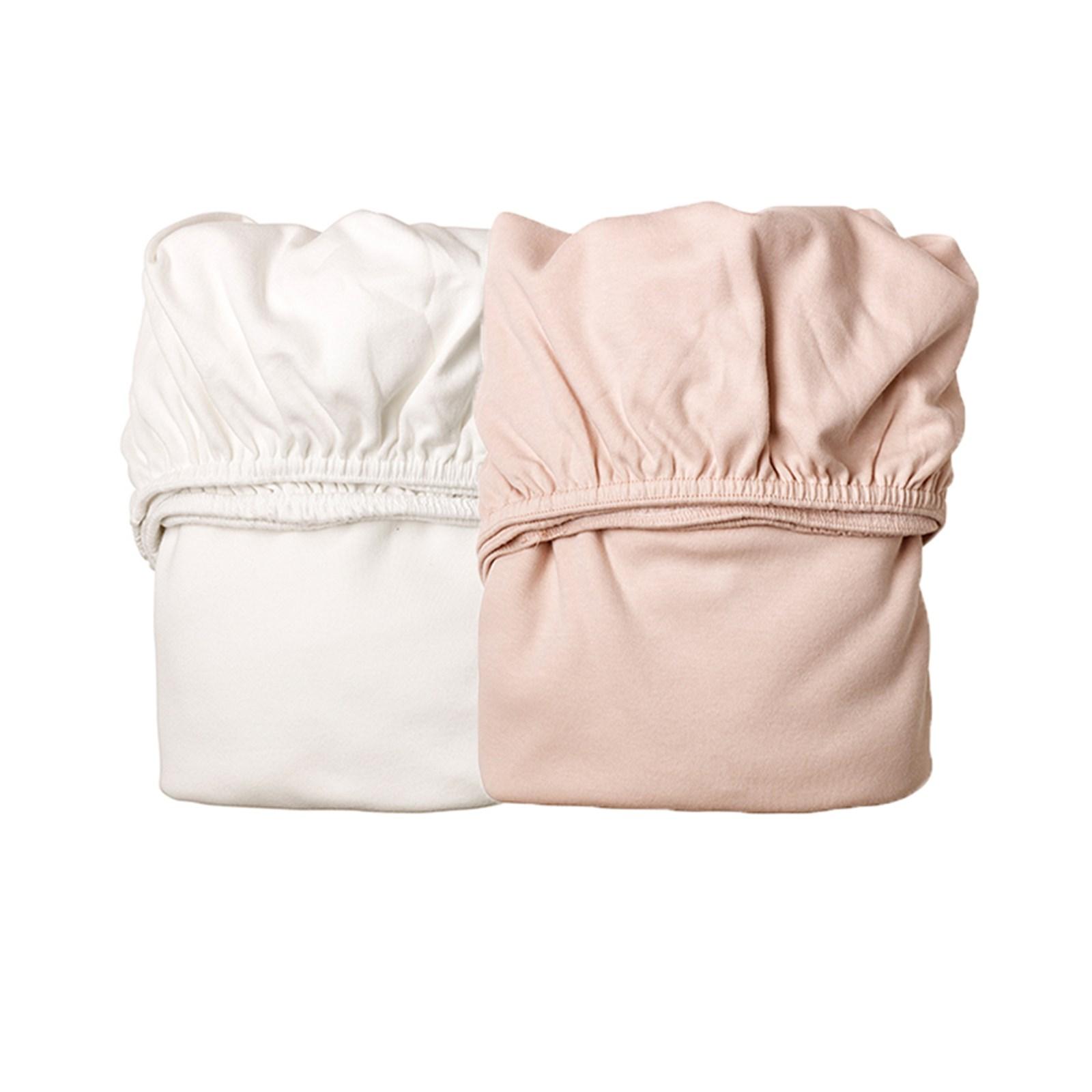 Leander 2-Pack Underlakan till Vagga - Vit/Rosa