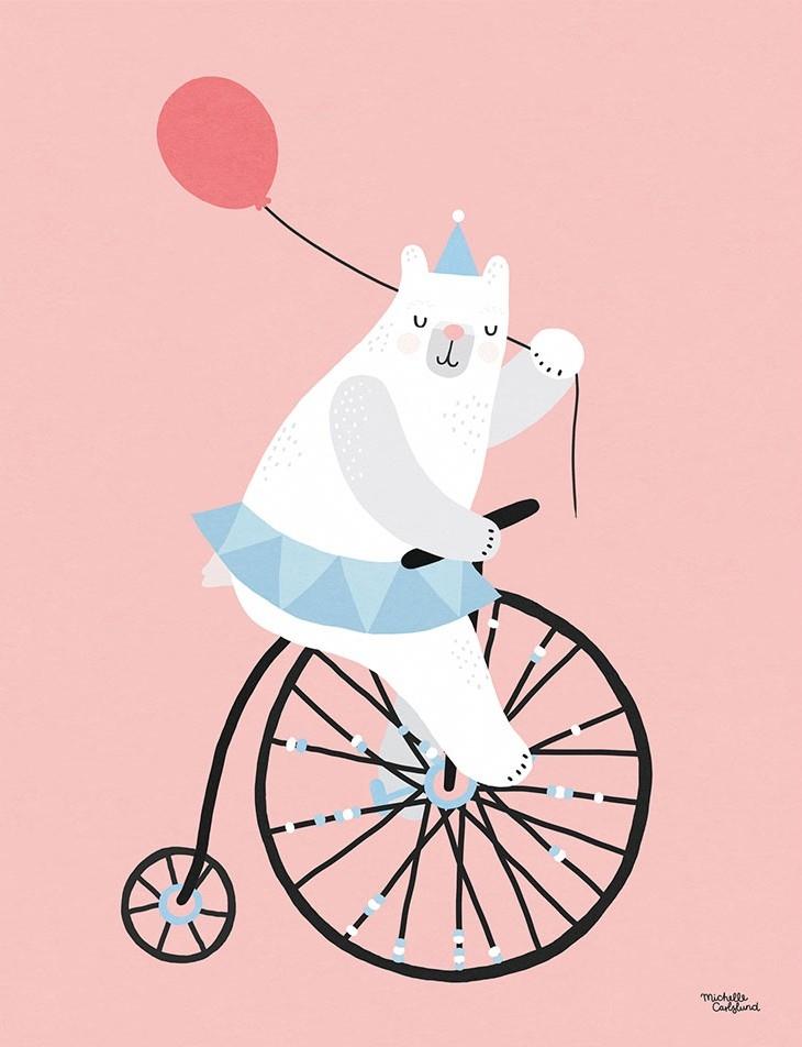 Michelle Carlslund Plakat 40 x 30 - Cyklande Björn