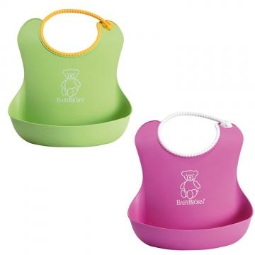 Babybjã–rn – Babybjörn soft bib 2-pack - green/pink, 8 stk. på lager på pixizoo