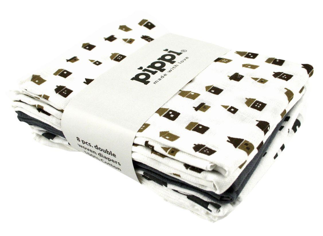 Hvid printet 8-pak 70x70 stofbleer - pippi, 6 stk. på lager fra Pippi fra pixizoo
