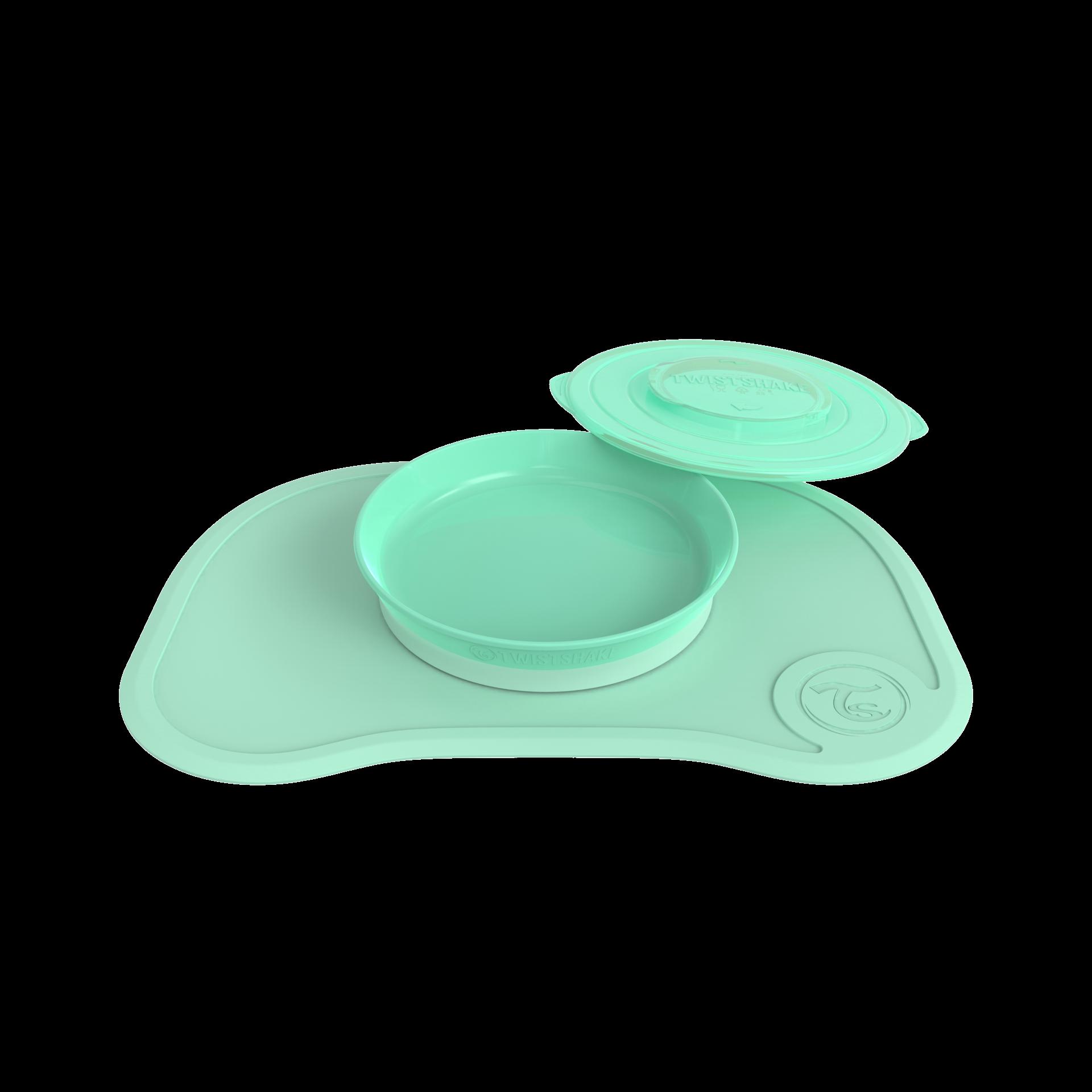 Twistshake dækkeserviet m. click-funktion og tallerken - Pastel Grøn