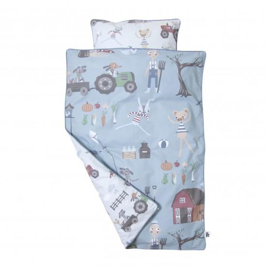 Sebra Farm Baby Sängkläder - Blå