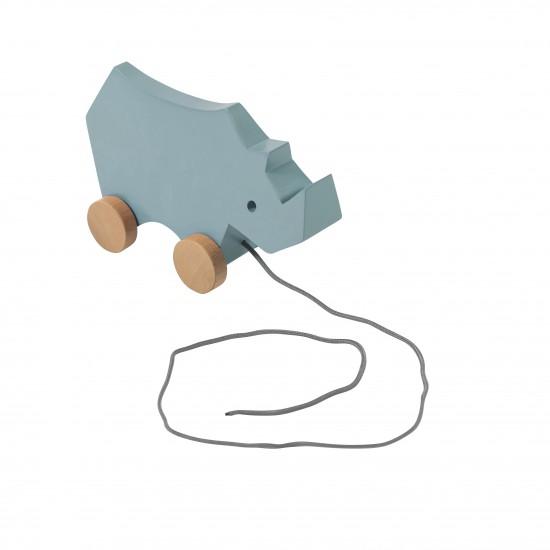 Sebra Noshörning Dragleksak - Blå