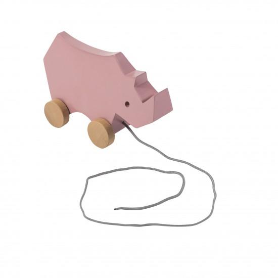 Sebra Noshörning Dragleksak - Rosa
